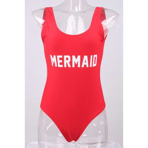 Fashion One Piece Letter Printed Bikini MERMAID Red