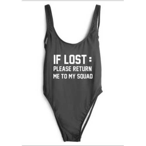 Fashion One Piece Letter Printed Bikini IF LOST