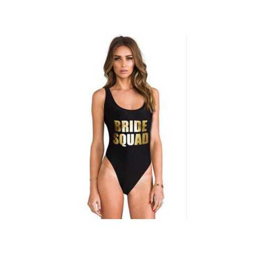 Uhnice Women Atheletic One Piece Racing Training Sports Swimsuit Printed BRIDE SQUAD