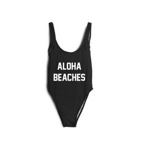 Uhnice Women Atheletic One Piece Racing Training Sports Swimsuit  printed ALOHA BEACHES