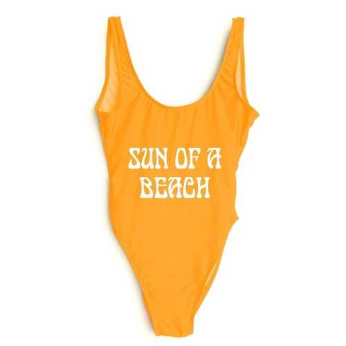 Fashion One Pcs Letter Printed Swimwear SUN OF A BEACH