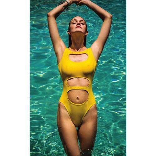 One Piece Crop Top Sexy Bikini Yellow