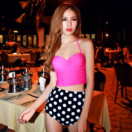 New sexy fashion pink white dots bikini