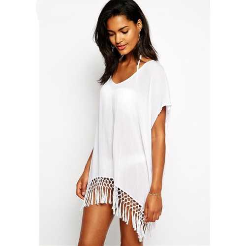 Lightsome White V-Neck With Trimming Beach Dress