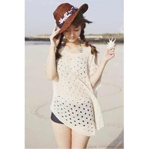 Cotton Off-shoulder Short-sleeve Holes Beach Knitwear White