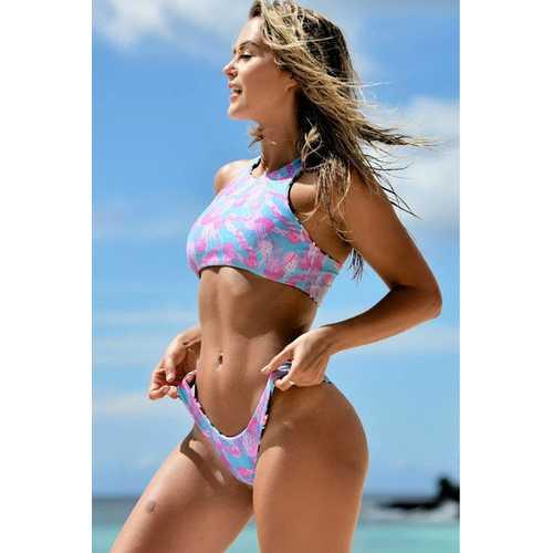 2017 Women's Sexy Halter Leaves Print 2 Piece Swimsuit Padding Bikini Set Purple