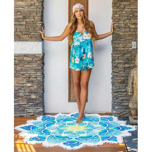 Beach Cover Up Bathing Suit Kimono Tunic Blue