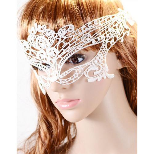 Handmade Mysterious White Night Club Lace Party Mask