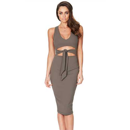 2017 Women Low V Neck Sleeveless Bodycon Cocktail Party Midi Dress Grey