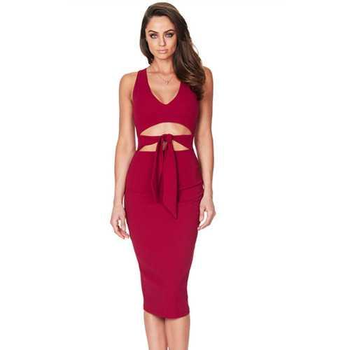 2017 Women Low V Neck Sleeveless Bodycon Cocktail Party Midi Dress Red