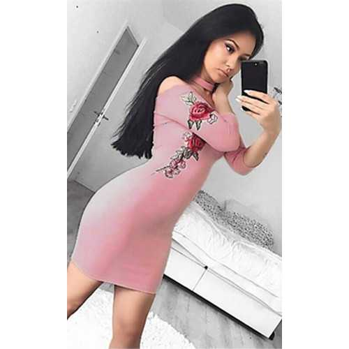 2017 Womens Sexy Embroidery Suede Halter Bodycon Dress Clubwear Pink