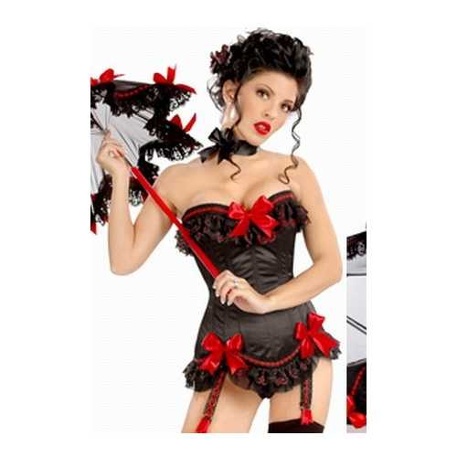Black and red lace up corset