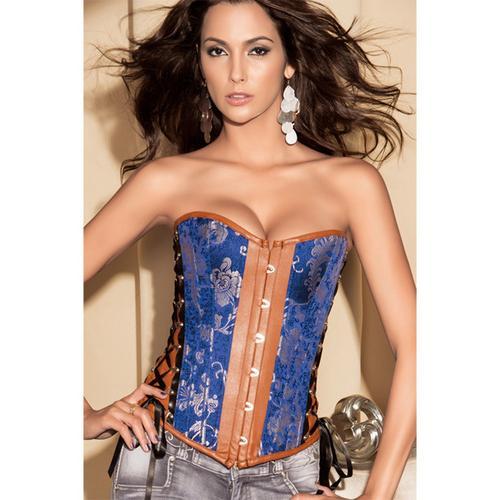 Elegant Multi-Fabric Corset Blue