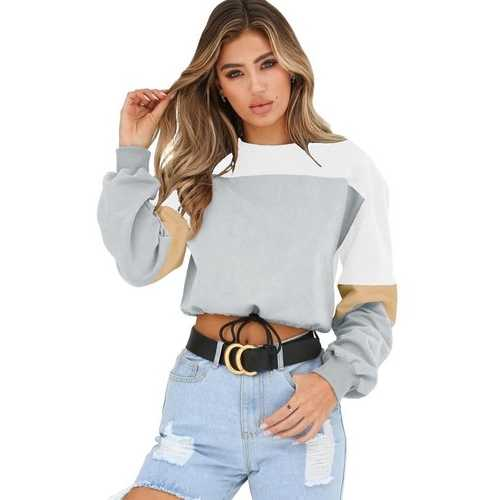 Women round neck long sleeve four-color stitching sweatshirt