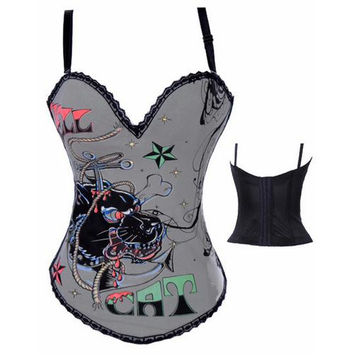 Hell Cat Graffiti Print Corset Gray