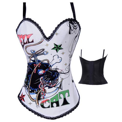 Hell Cat Graffiti Print Corset White