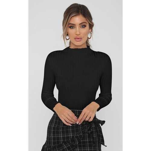 Women Black Mock Neck Ruffled Sweater