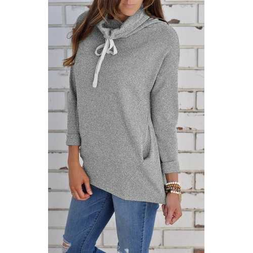 Women Turtleneck Solid Sweatshirt with Pocket