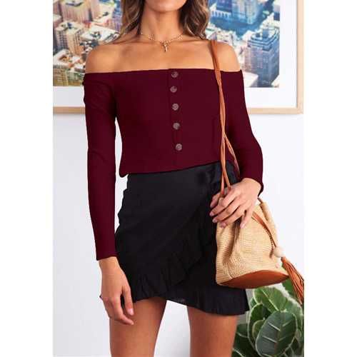 Long Sleeve Slash Neck Tops with Button Wine Red
