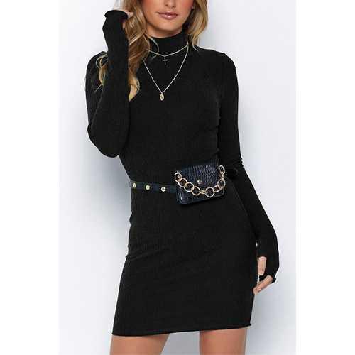 New Arrivals Half-high Collar Long-sleeve Gloves Midi Dress Black