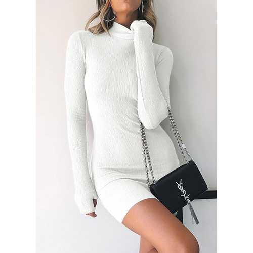 Half-high Collar Long-sleeve Gloves Midi Dress White