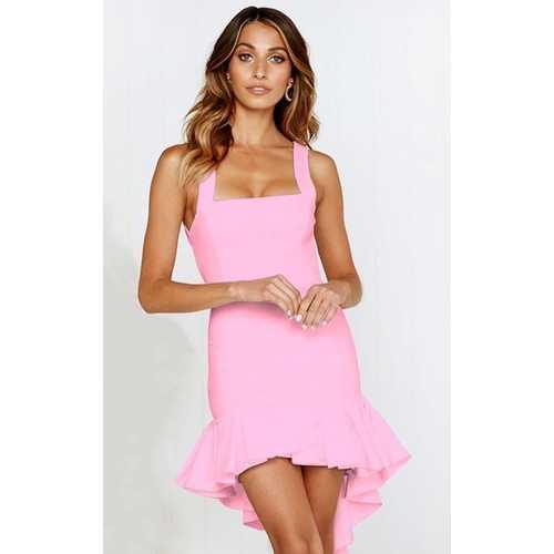 Pink Sexy Backless Irregular Hem Cocktail Dress