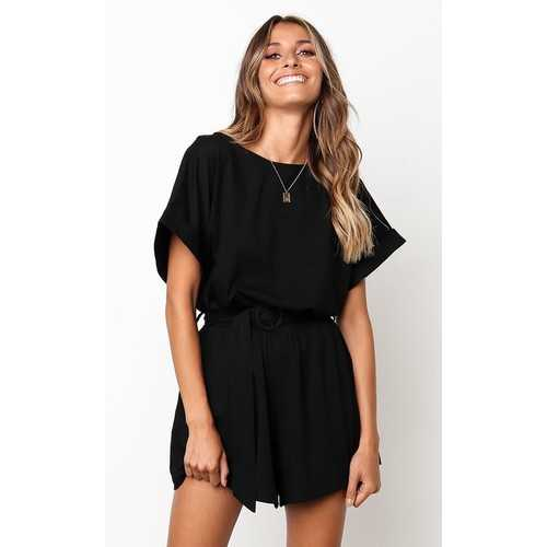 Black  Half Sleeves Peplum Waist Jumpsuit
