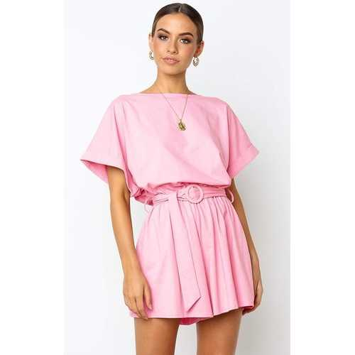 Pink Half Sleeves Peplum Waist Jumpsuit