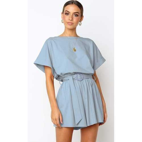 Light Blue Half Sleeves Peplum Waist Jumpsuit