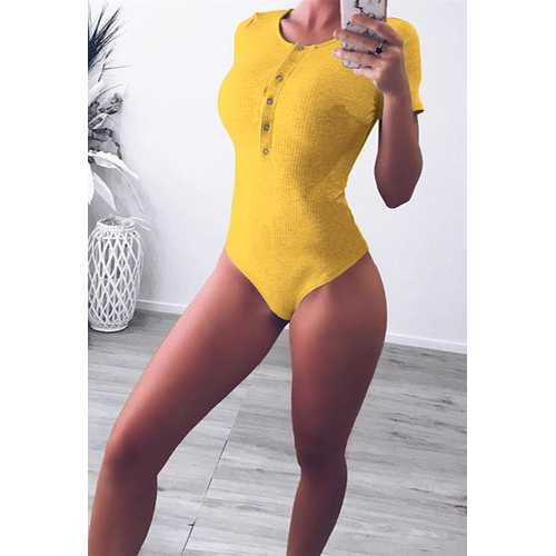 Solid Yellow Pit Cotton O-neck Women's Bodysuit