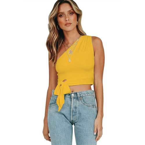 Sexy One Shoulder Sleeveless Yellow Tank Bowknot Woman Crop Top