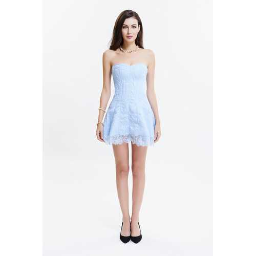 Light Blue Sexy Strapless Lace Tight Corsetdress