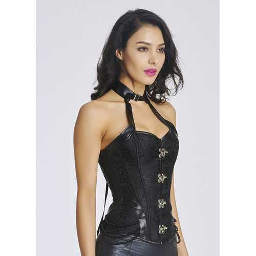 Wholesale Halterneck Bone Embroidery Corset Black