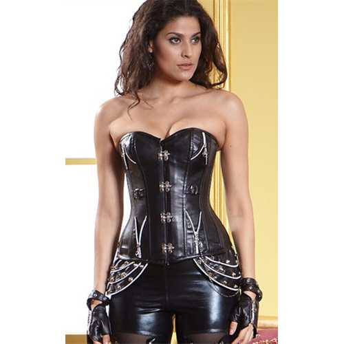 Leather Buckle-Up Corset Black