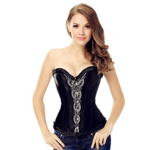 Black Retro Buckle-Up Ruffle Corset