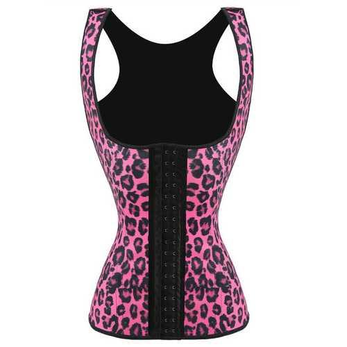 Sexy Latex Women Steel Bone Glossy Rubber Corset Pink Leopard