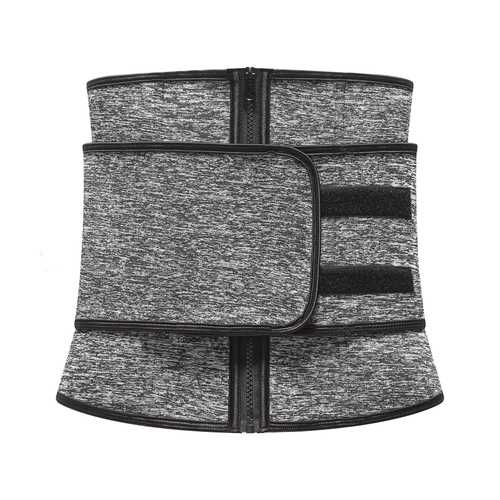 Grey Zipper Front Waist Cincher with Adjustable Shaper Trainer Belt