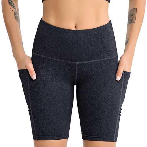 Matte Black Yoga Clothing Female Yoga Five-Pants Sports Fitness Side Mobile Phone Pocket Fitness Woman Shorts