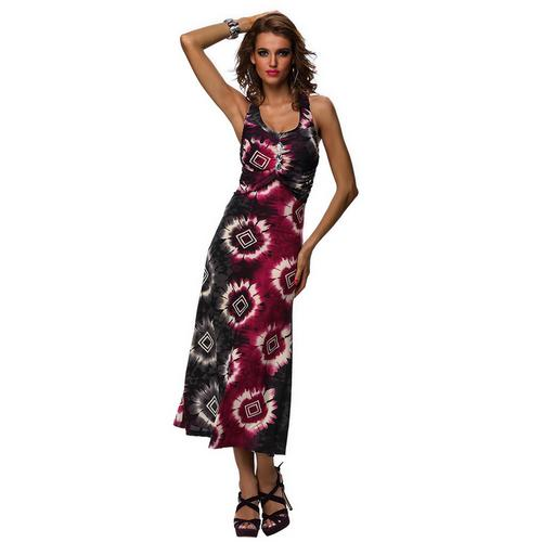 Alluring V-Neckline Print Sleeveless Maxi Dress For Women