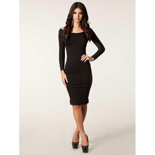 long sleeve black women dress backless