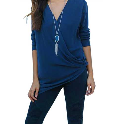 Women's Sexy Deep V-Neck Long Sleeve T-Shirt Irregular Blouse Blue