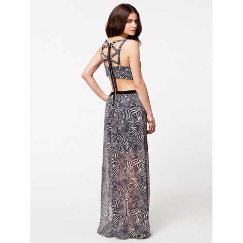 Leopard Print Chiffon Printing Dress Maxi Dress
