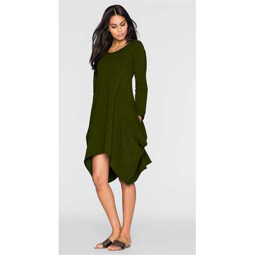 Women's Basic Long Sleeve Pockets Casual Swing Plain Tshirt Dress Army Green