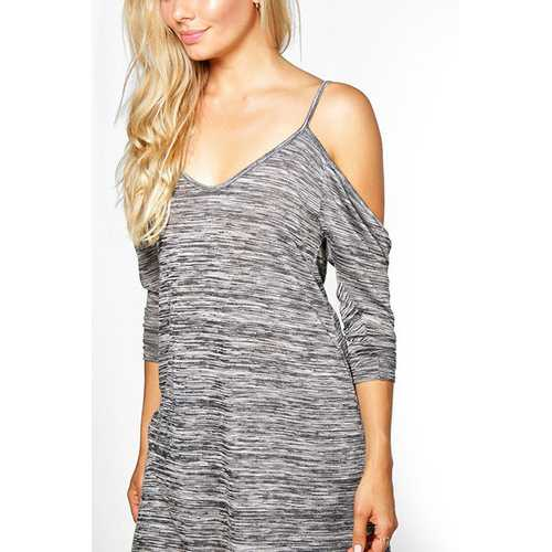 Womens Hot Long Sleeve Off-the-Should Strappy Blouse