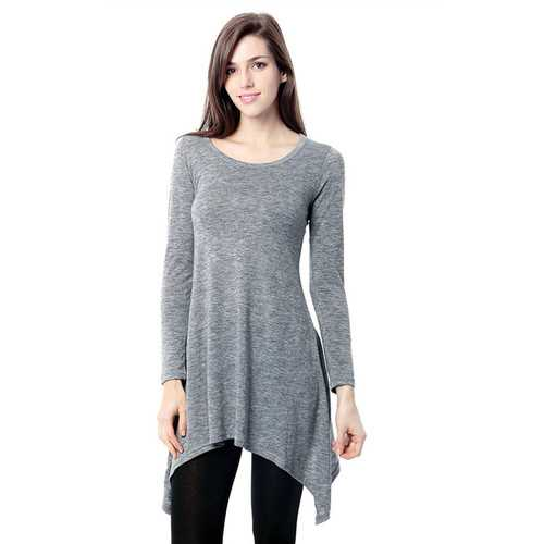 Women's Basic Long Sleeve Casual Loose T-Shirt Dress Grey