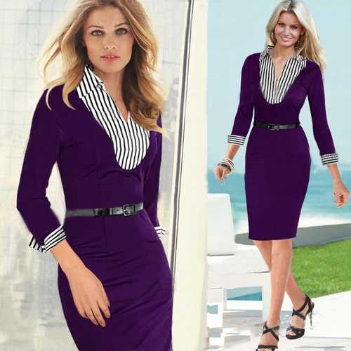 Faux twinset design stripe Neck Midi Dress Purple