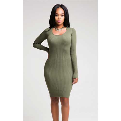Women's Deep-V Package Hip Bodycon Night Cocktail Midi Dress Army Green