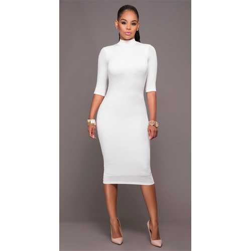 Women Long Sleeve Hollow Out Bodycon Dress White