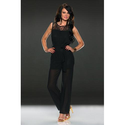 Black lace sleeveless jumpsuit embellished belt