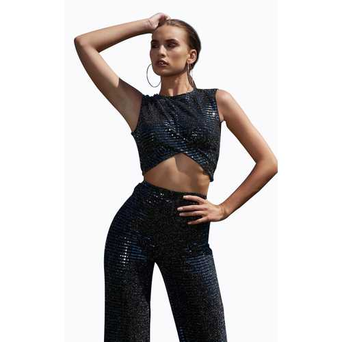 Women Black Knitted Sleeveless Sequins Lady's Broad-legged Suits